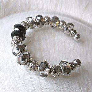 Ornate Silver & Czech Hematite Crystal Bracelet